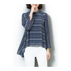 Rotita Asymmetric Hem Striped Long Sleeve Blouse ($28) ❤ liked on Polyvore featuring tops, blouses, blue, blue long sleeve blouse, chiffon tops, long sleeve tops, blue top and striped chiffon blouse