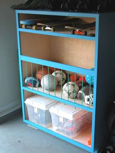 Produce a sports center of your very own. | 49 Clever Storage Solutions For Living With Kids