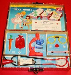 1950s toy nurses kit - kept us busy taking care of pretend sickly siblings & dad.