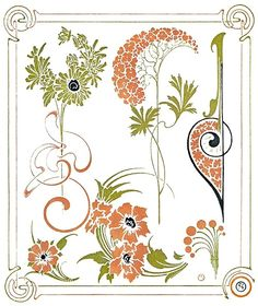 Plate 54.    Alphonse Mucha, from Combinaisons ornementales (Ornamental combinations), Paris, not dated.    (Source: archive.org)