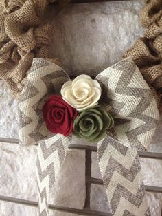 Burlap Wreath Handmade Felt Decoration Burlap Chevron by SasiRose