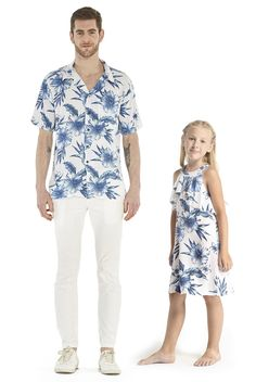 5b96951f23af Father Daughter Matching Set Aloha Shirt Round Neck Ruffle Dress In Day  Dream Bloom