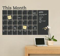 """Chalkboard Wall Calendar  Stay organized with the help of this chalkboard wall Month calendar. This calendar wall decal incorporates a black chalkboard vinyl that you can write on and erase. This calendar design also includes an extra """"memo"""" area on the side. It is applied directly to the wall.    Use code 'UNCOVET10′ for off this shop, as well as free shipping on orders over $100.    $64 $57.60"""