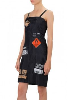 STRAP TUBE DRESS with 'WARNING' PATCHES