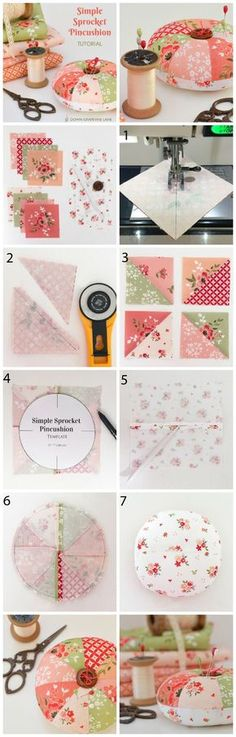 Simple Sprocket Pincushion step-by-step tutorial from Sedef of Down Grapvine Lane. Featuring Summer Blush fabric by Riley Blake Designs.