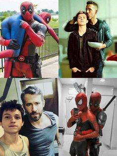 Marvel owns Deadpool now. I just want this scene in the next Spiderman it would be so amazing. Marvel Jokes, Avengers Memes, Marvel Funny, Marvel Dc Comics, Funny Comics, Deadpool X Spiderman, Spiderman Cute, Deadpool Funny, Amazing Spiderman