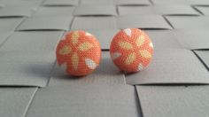 Items similar to Orange and Yellow Flower Fabric Covered Button Post Earrings Inch] on Etsy Button Earrings, Stud Earrings, Flower Fabric, Fabric Covered Button, Yellow Flowers, Orange, Trending Outfits, Unique Jewelry, Handmade Gifts