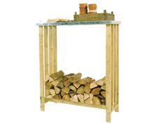 Houtopslag Forte. Een houtopslag met een dak op werkhoogte voor een praktisch en mooi geheel.
