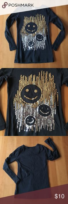 Girl's Black Denny's T-Shirt Sequin Emojis 5-6 Adorable long sleeve t-shirt purchased from Denny's.  I had to cut the tag out because it bothered my daughter, but it's a size 6 and would best fit a 5 or 6 year old.  It's super soft and has gold & silver sequins with 3 smiley face emojis.  It's in terrific pre-loved condition & your daughter will ❤️ it!! Shirts & Tops Tees - Long Sleeve