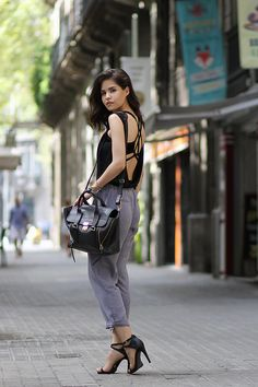 Ecstasy Models — Back To Backless Wearing: Lulu's grey trousers,...