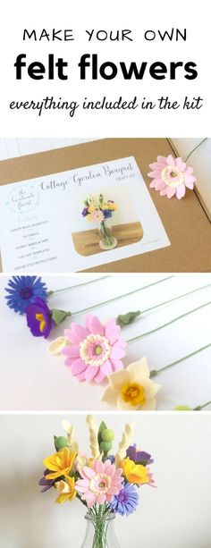 Learn to make your own beautiful long-lasting felt flowers. This kit contains materials and full step-by-step instructions to make 19 flowers (6 different varieties), including gerbera daisies, narcissi, cornflowers and crocuses. No sewing required! ad #etsy #felt #craftkit
