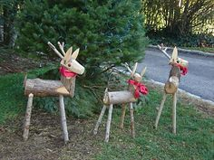Wooden Reindeer with pretty bows. Saw these when I was overseas and thought they would be a great feature on the front lawn at Christmas time.