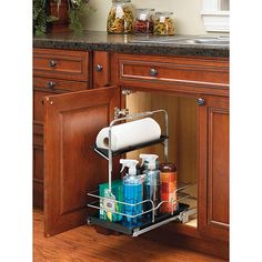 This chrome wire cleaning caddy maximizes your undersink storage capacity and is removable to double as a cleaning supply caddy. The adjustable handle fits any plumbing arrangement, and it measures 19.5 inches wide by 19.5 inches high by 11 inches deep.