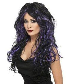 Parrucca nera con ciocche viola, lunga mossa. Per una strega davvero attraente. Gotich bride wig. Travestimento per halloween o carnevale. Disponibile da C&C Creations Store