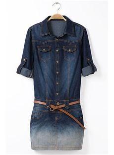 denim bolsillos de solapa azul puños enrollados pantalones vaqueros largos de la manga Vestido tubo