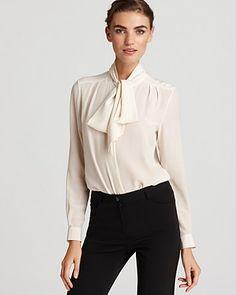Tegan Top - Silk Solid Long Sleeve Tie Front - Contemporary - Bloomingdale's