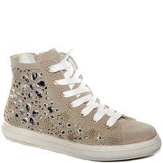 #Sneaker con rialzo interno in tessuto beige.