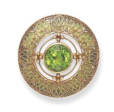 Peridot And Enamel Brooch Mounted In Gold  By Louis Comfort Tiffany, Tiffany & Co,   c. 1910 Christie's