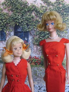 Skooter & Midge  My sister and I had these both and Barbie.  My Grandma would sew the clothes for them!