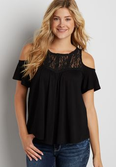 72e595a61f5bb cold shoulder tee with lace yoke (original price