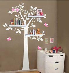Çocuklar kuşlar ile raf ağacı Vinil Duvar Çıkartma baykuş baykuşlar lea ...