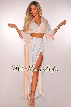f57b7741fd80 Sky Blue Peach Striped Wrap Tie Up Palazzo Two Piece Set  54.99 Peach  Clothes