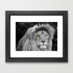 LION BEAUTY Framed Art Print by Catspaws - $37.00