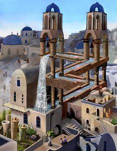 Photo montage of Escher's Waterfall