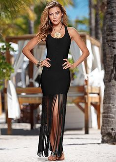 All we can think about is twirling in this dress! Venus fringe detailed maxi dress.