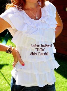 $4 Tee + $1 Dollar Store Towel = Fabulous Anthro-inspired Shirt!! --Tatertots and Jello #refashion #knockoff #Anthropologie