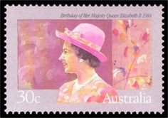Queen Elizabeth II on an Australian stamp from 1984.