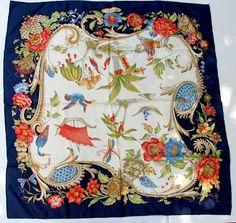 Salvatore Ferragamo Asian Print Silk Scarf  Free by ZouZouArmoire, $99.00