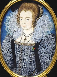 EXCERPT: '1595, English, young noble lady. She is wearing a sumptuous black gown (velvet?) completely covered with white lace, simple yet stunning. She is also wearing a loose velvet sleeveless garment, worn like a cardigan. Her elegant ruff matches the gown . Her black velvet hood has the same jewelled decoration as the neck of her gown.'