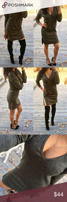 •NEW• Soft olive side slit V neck dress Super soft beautiful earthy olive color with semi long sleeves. Side slits on each side and a perfectly cut V neck. Semi fitted. Perfect for knee high boots or some sky high heels!  •Modeling size- S •My stats- 5' 108lbs 34C •Prices are Firm •NO Trades •Non smoking home Dresses Long Sleeve