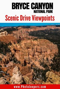 Bryce Canyon is a beautiful national park in the U.S. Check out this guide to the best viewpoints on the scenic drive through Bryce Canyon. This Bryce Canyon guide also includes photography tips to help you get the best shots while you're there. Don't forget to save this to your travel board!