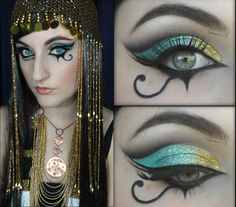 "Katy Perry ""Dark Horse"" Inspired Egyptian Make Up Korean Eye Makeup, Cat Eye Makeup, Sexy Makeup, Ancient Egyptian Makeup, Egyptian Costume, Egyptian Party, Egypt Makeup, Cleopatra Makeup, Cleopatra Headdress"