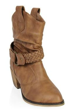 Deb Shops stacked heel #western #boot with braided strap $37.50