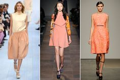 Peach — We've already talked about how much we loved all the peach last season, but we need to go over it again. More badass than last season's pale pink and less in-your-face than hot pink, peach is going to be the new neutral this fall. Chloe, Carven and Rachel Comney.