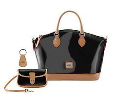 Dooney & Bourke Patent Leather Satchel with Vachetta Trim. A233731. $219.96. 5 easy pay. Show 2/9.  7 different colors!