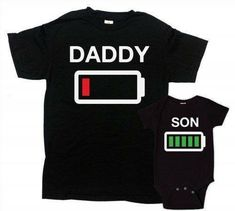 238a3e5c Father Son Matching Shirts Daddy And Me Clothing Father And Son Shirt  Family Shirts Gifts For New Dad Battery Empty Full Bodysuit