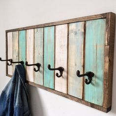 Rustic Wood Coat and Hat Rack / Coat Hook / Entryway Organizer / Bathroom Towel Hooks / Modern Entryway Coat Rack / Clothing Rack / Hooks Hanging Coat Rack, Coat Hooks On Wall, Wall Mounted Coat Rack, Coat And Hat Rack, Diy Coat Rack, Coat Hanger, Hat Racks, Rustic Coat Hooks, Pallet Coat Racks