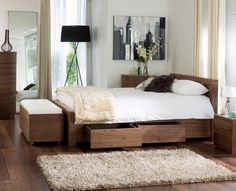 dwell - Notch bed with drawers compact king walnut Walnut Bedroom Furniture, Contemporary Bedroom Furniture, Bed Furniture, Pallet Furniture, King Size Storage Bed, Bed Storage, Bed Designs With Storage, Bedroom Cupboard Designs, Bed With Drawers