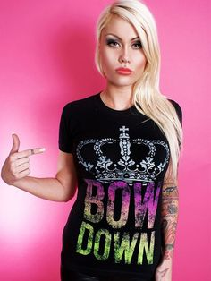 "Women's ""Bow Down"" Tee by Dirty Shirty (Black) #InkedShop #Bow #Down #Crown #Tshirt #Black"
