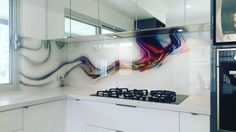 splash back - rainbow squiggle design Printed glass splash back with rainbow squiggle design Kitchen Room Design, Kitchen Interior, Kitchen Backsplash, Kitchen Countertops, Printed Glass Splashbacks, Back Painted Glass, Glass Installation, Wave Design, Glass Kitchen