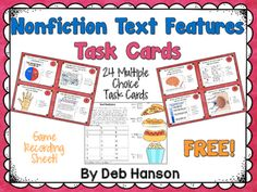 Here's a set of 24 task cards on nonfiction text features. Some of the text features include: heading, subheading, diagram, caption, glossary, index, table of contents, map, timeline, text box, cutaway, bold words, italicized words, photograph, and illustration.