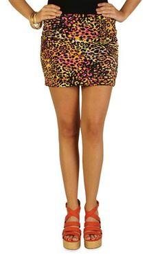 multicolor mixed animal print bodycon skirt