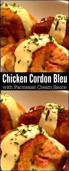 This Chicken Cordon Bleu with Parmesan Cream Sauce is one of our family's favorite celebration meals! We also love it for a date night in or a delicious Sunday Supper! (Cream Of Chicken Meals) Turkey Recipes, Chicken Recipes, Dinner Recipes, Chicken Meals, Sunday Recipes, Cheesy Chicken, Dinner Ideas, Parmesan Cream Sauce, Dijon Cream Sauce