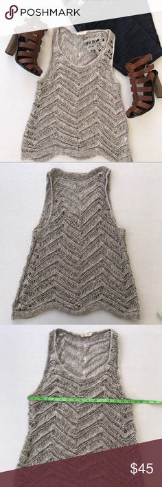 Eileen Fisher open knit top Beautiful open knit top in excellent condition. Color is kind of a creamy gray. MAKE OFFER!! Eileen Fisher Tops