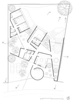 Gallery of House Between Courtyards / Enrique Browne + Tomás Swett - 12 Cultural Architecture, Architecture Plan, Architecture Diagrams, Architecture Portfolio, Modern Floor Plans, House Floor Plans, Zaha Hadid, Planer Layout, Deconstructivism