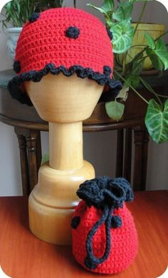 Ladybug Beanie and Matching Purse Crochet Pattern